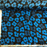 Floral Printed Silk Jacquard - Black/Blue