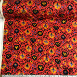 Floral Printed Silk Jacquard - Red/Green/Multicolor
