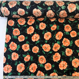 Floral Printed Silk Jacquard - Midnight Blue/Peach/Green