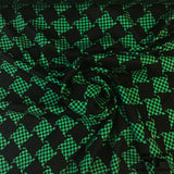 Houndstooth Silk Jacquard - Green/Black