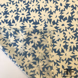 Floral Printed Silk Jacquard - Blue/Off White