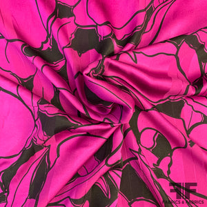 Italian Floral Silk Jacquard - Purple/Black