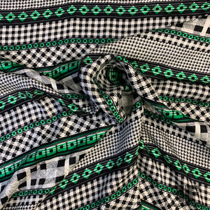 Abstract Striped Printed Silk Jacquard - Green/Black/White