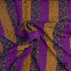 Swiss Striped Silk Jacquard - Purple/Rust/Blue