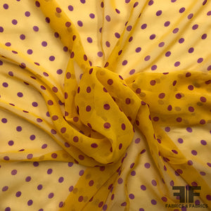 Polka Dot Silk Chiffon - Tangerine/Purple