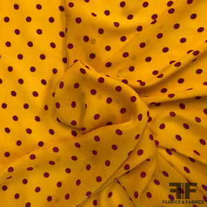 Polka Dot Silk Georgette - Tangerine/Purple