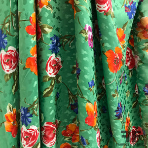 Floral Printed Silk Jacquard - Green/Multicolor