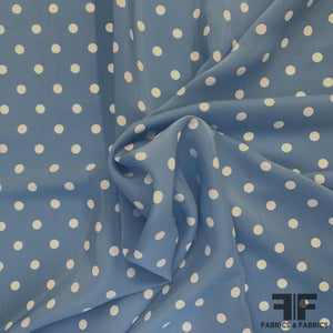 Polka Dot Charmeuse Panel - Blue/White
