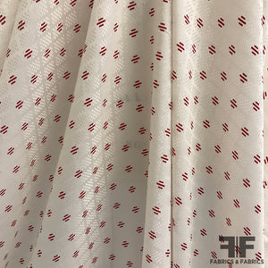 Linear Print on Polka Dot Silk Jacquard - Red/Off White