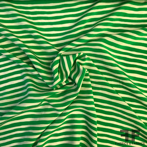 Wavy Striped Crepe de Chine - Green/Off White