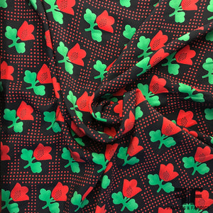 Tulip Floral Printed on Silk Charmeuse - Red/Green/Navy