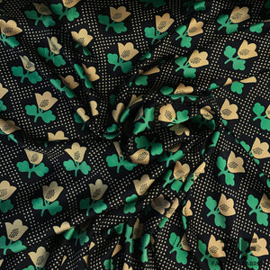 Tulip Floral Printed on Silk Charmeuse - Gold/Green/Navy