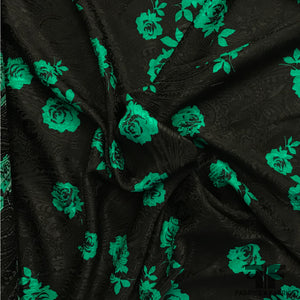 Rosettes Printed on Paisley Woven Silk Jacquard - Black/Green