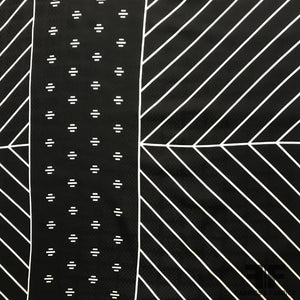 Geometric Linear Printed Silk Jacquard - Black/Off White
