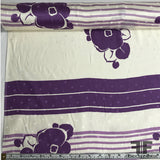 Floral and Striped Silk Jacquard - Purple/Off White