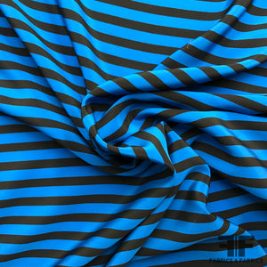 Striped Crepe de Chine - Blue/Black