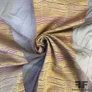 Novelty Striped Organza - Lavender/Gold
