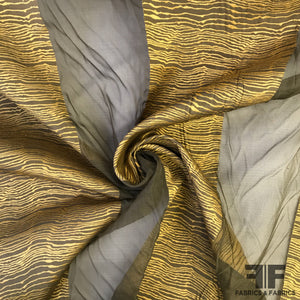 Novelty Striped Organza - Brown/Gold