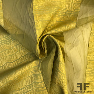 Novelty Striped Organza - Green/Gold