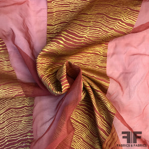 Novelty Striped Organza - Red/Gold