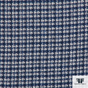 Checkered Wool Tweed - Blue - Fabrics & Fabrics NY