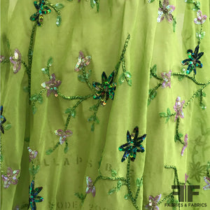 Floral Embroidered Sequin/Beaded Silk Chiffon - Green