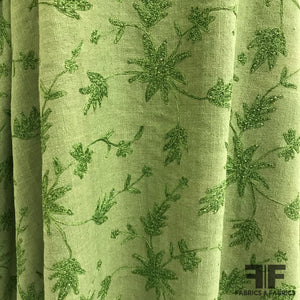 Floral Embroidered Sequin Silk Noile - Green