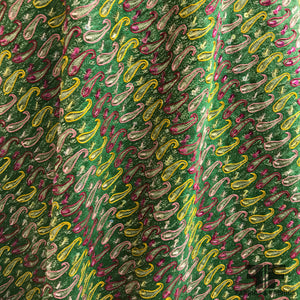 Paisley Embroidered/Sequined Silk Blend - Green/Pink/Yellow