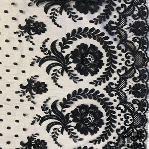 French Floral Border Point D'esprit Chantilly Lace - Navy