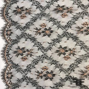 French Chantilly Lace Floral and Diamond Pattern - Navy/Peach
