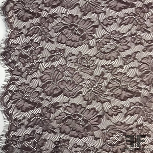 Lace with Metallic Edging - Deep Plum/Silver