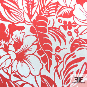 Tropical Floral Printed Silk Chiffon - Red/White
