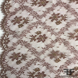 French Chantilly Lace Diamond Pattern - Maroon/Nude