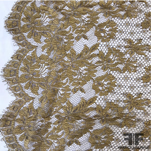 French Chantilly Border Pattern Lace - Gold/Brown