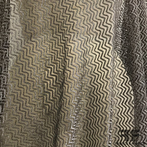 French Metallic Zig Zag Lace - Silver/Brown