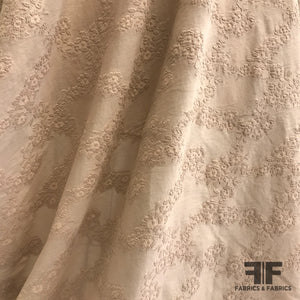 Italian Burnout Embroidered Cotton - Nude/Beige