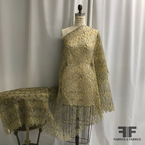 French Lightly-Corded Lace - Yellow/Indigo