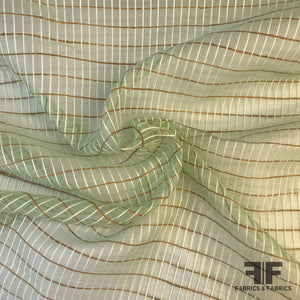 Novelty Organza - Mint Green/Brown/White