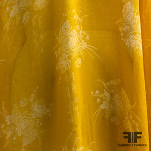 Floral Crinkled Printed Silk Chiffon - Yellow