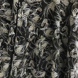 Abstract Floral Printed Rayon Twill - Black / Off White / Blue