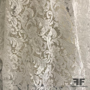 French Corded Lace with Small Scallops - White