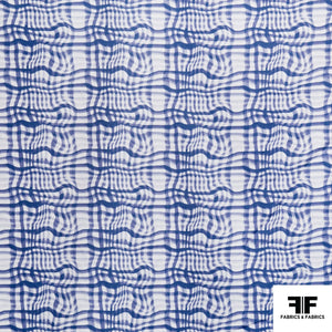 Broken Gingham Check Printed Cotton - Blue/White