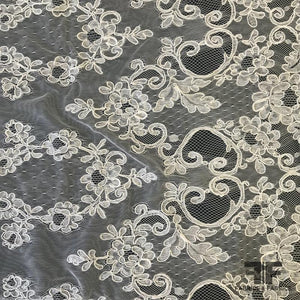 French Corded Leon Lace - White