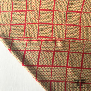 Basket Weave Printed Silk Charmeuse - Red/Tan