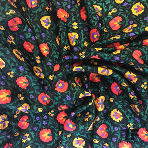 Bold Floral Silk Jacquard - Black/Red/Yellow