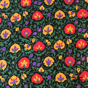 Bold Floral Silk Textured Crepe de Chine - Black/Red/Yellow