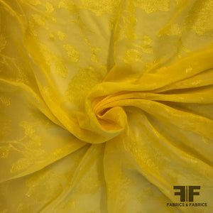 High-Sheen Floral Fil Coupe Polyester Chiffon - Yellow
