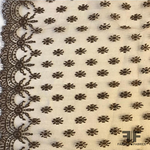 French Double Scalloped Chantilly Lace - Beige/Brown