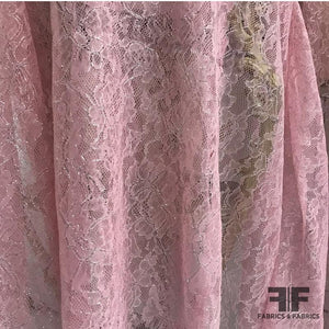 Leavers Lace with Metallic - Pink/Silver