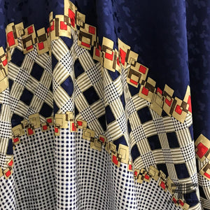 Gingham Border Print Silk Jacquard Panel - Navy/White/Multicolor